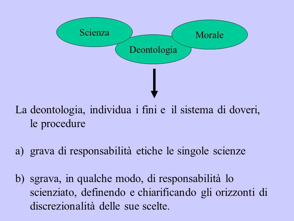 La deontologia, individua i fini e il sistema di doveri, le procedure a)grava di responsabilità etiche le singole scienze b)sgrava, in qualche modo, d