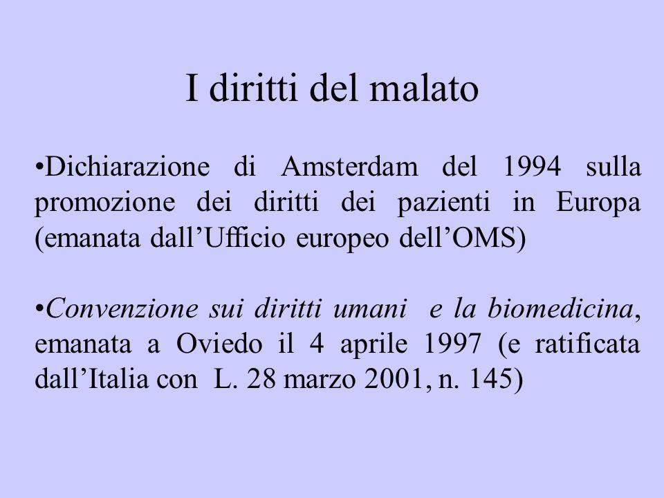 I diritti del malato Dichiarazione di Amsterdam del 1994 sulla promozione dei diritti dei pazienti in Europa (emanata dallUfficio europeo dellOMS) Con