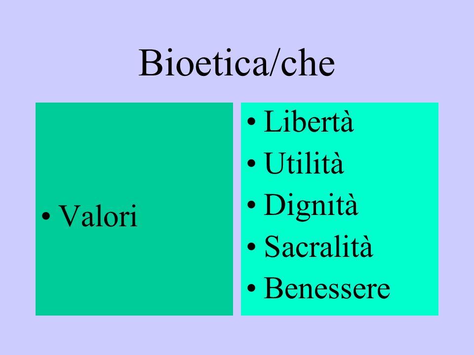 Bioetica/che Valori Libertà Utilità Dignità Sacralità Benessere