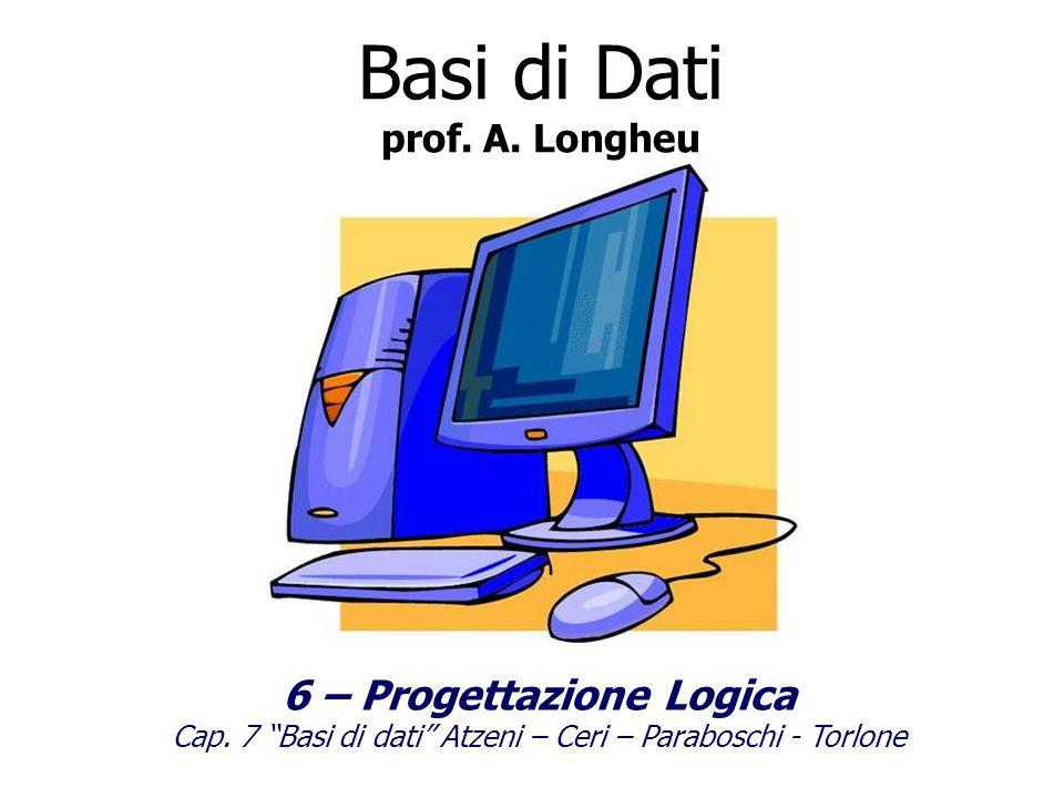 Il risultato della progettazione logica è linsieme di schema logico (elenco tabelle), vincoli di integrità (che si accompagnano alle tabelle), e della documentazione.