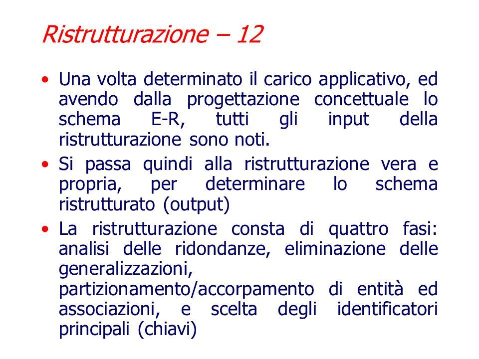 Ristrutturazione – 11 Determinazione Carico Applicativo Per valutare il secondo indice, loccupazione di memoria, è sufficiente utilizzare la tabella d