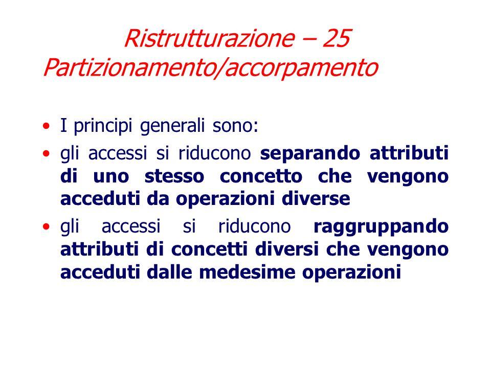 La terza soluzione prevede la sostituzione: la generalizzazione si trasforma in associazioni uno ad uno che legano padre e figli Ristrutturazione – 24