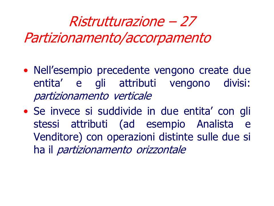 Ristrutturazione – 26 Partizionamento/accorpamento Esempio di partizionamento: