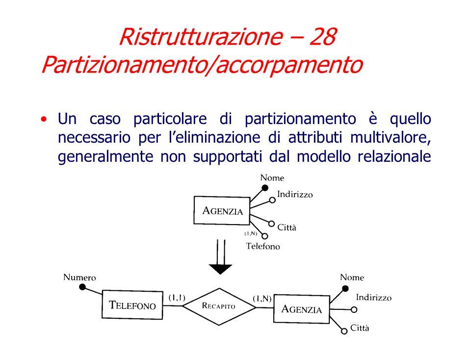 Nellesempio precedente vengono create due entita e gli attributi vengono divisi: partizionamento verticale Se invece si suddivide in due entita con gl