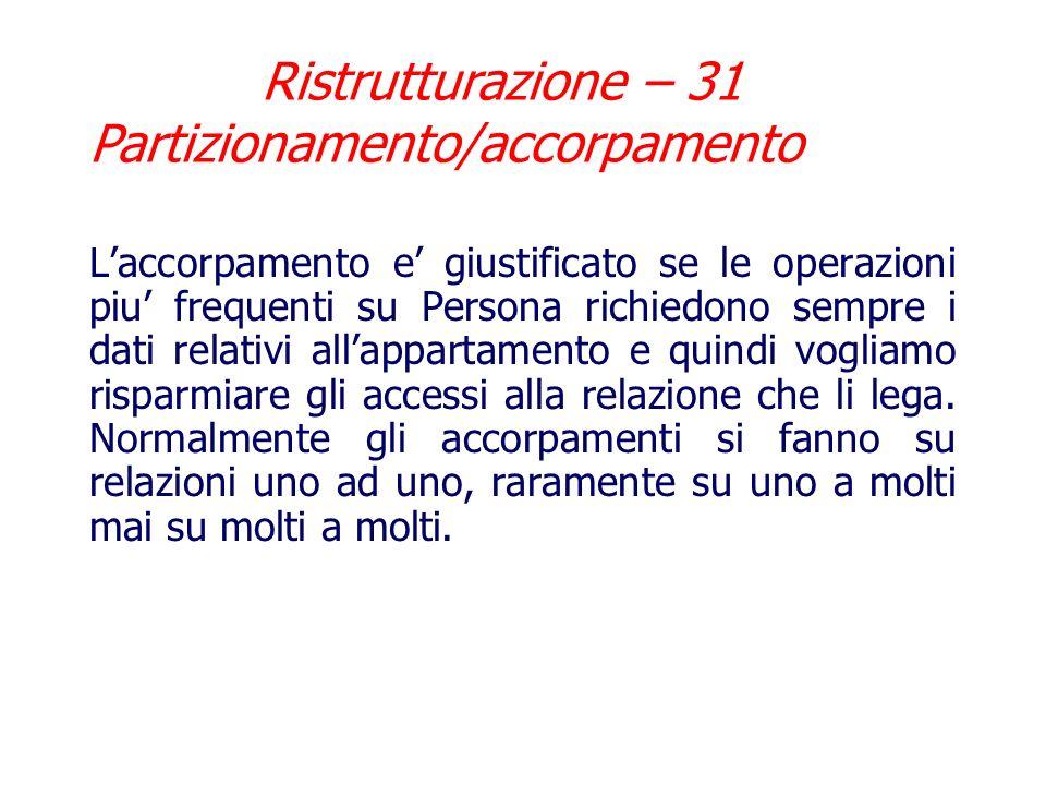 Ristrutturazione – 30 Partizionamento/accorpamento Esempio di accorpamento: