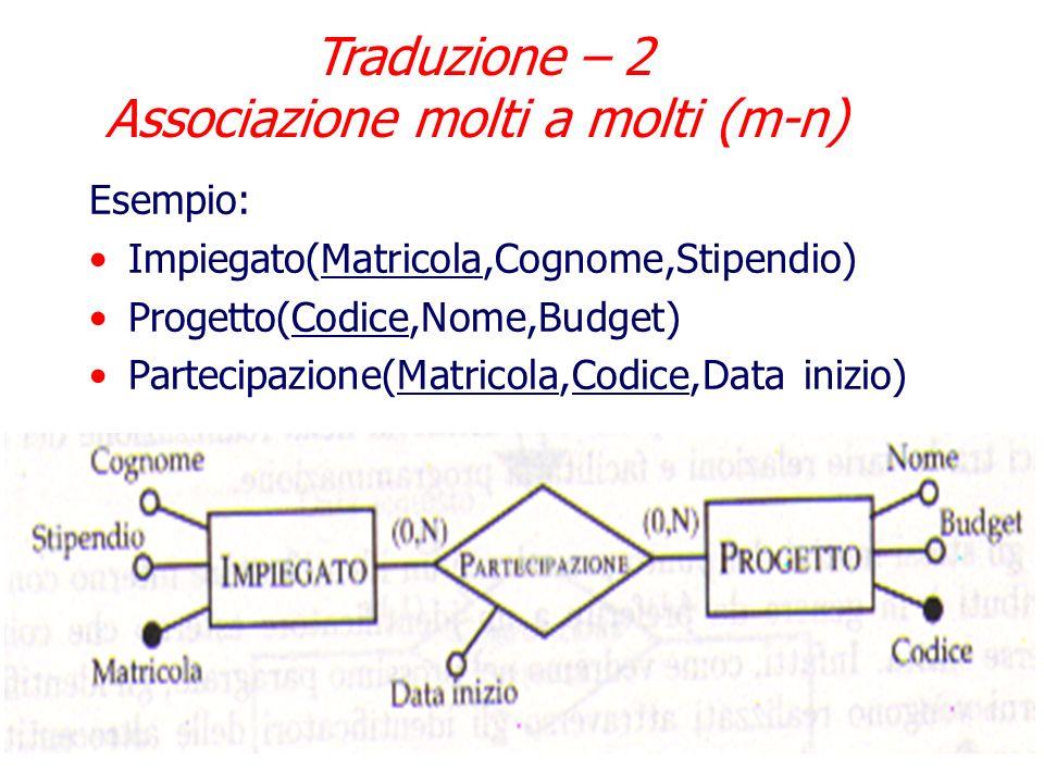 Nel caso di associazione molti a molti, la traduzione segue le regole: Ogni entita coinvolta si traduce in una relazione (tabella) con lo stesso nome