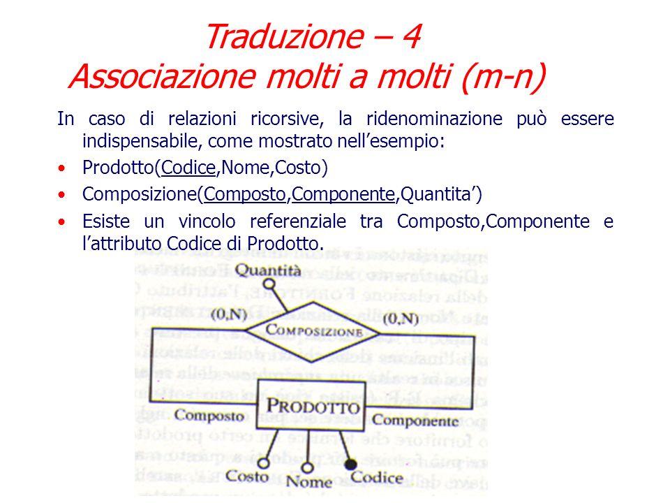 Nellesempio, esistono vincoli referenziali fra Matricola,Codice di Partecipazione e gli omonimi di Impiegato e Progetto. Per rendere piu comprensibile