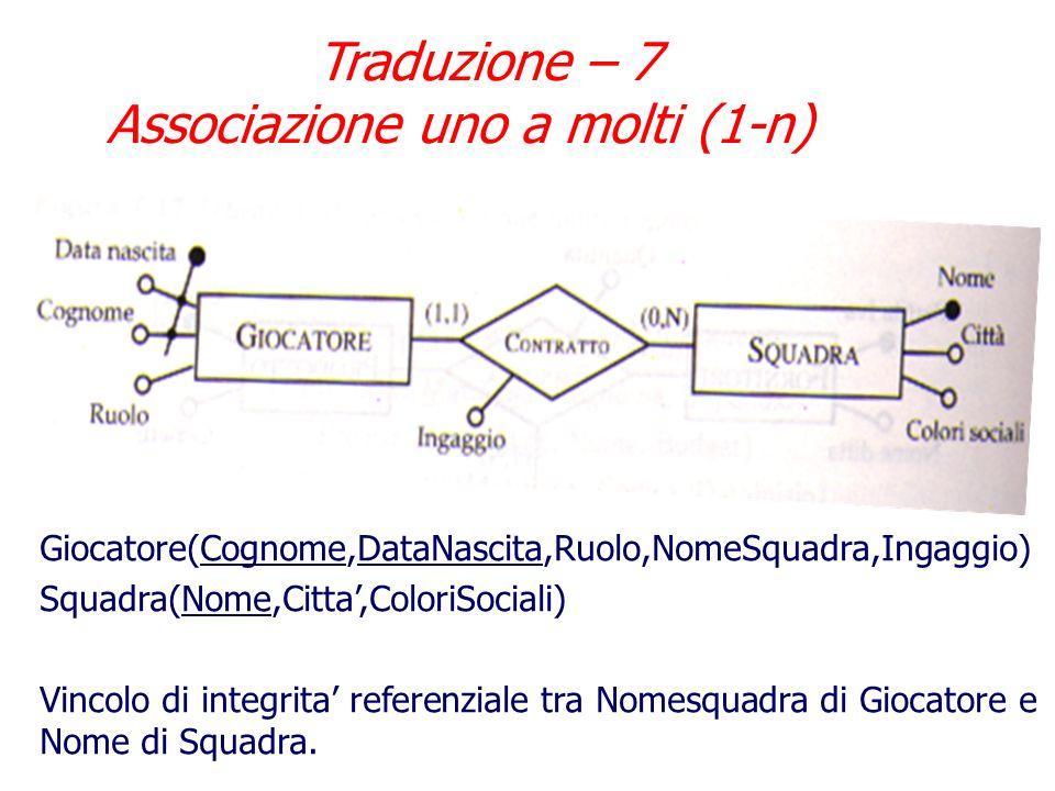 Traduzione – 6 Associazione uno a molti (1-n) Nel caso di associazione uno a molti, la traduzione segue le regole: Lentita partecipante con cardinalit