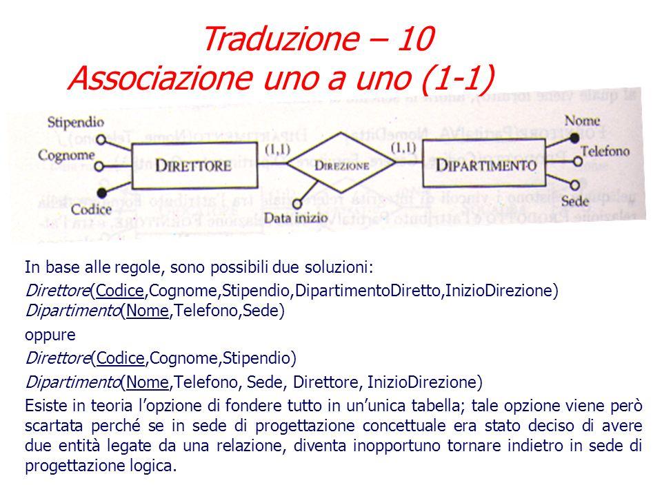 Traduzione – 9 Associazione uno a uno (1-1) Nel caso di associazione uno a uno con partecipazione obbligatoria per entrambe le entità (non (0,1) ma (1