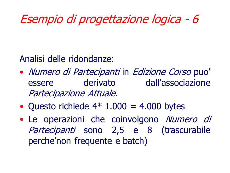 Esempio di progettazione logica - 5