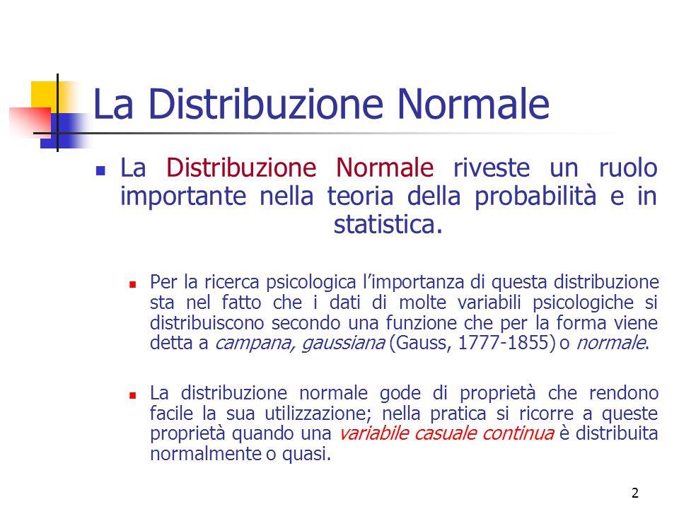 13 La Distribuzione Normale dove: = deviazione standard della popolazione dei dati, = nota costante 3,14…, = base dei logaritmi naturali (2,7183…), = scarto dalla media della distribuzione elevato al quadrato;