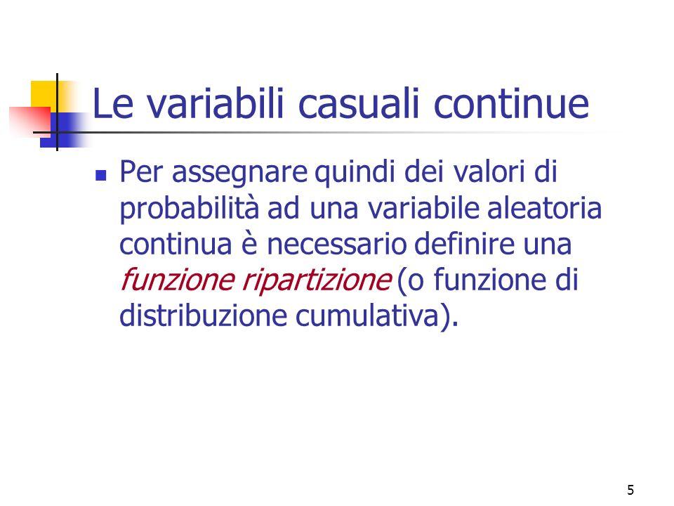 6 Definizione: la funzione di ripartizione di una variabile casuale X a valori reali è la funzione che associa a ciascun valore x la probabilità dellevento la variabile casuale X assume valori minori o uguali ad x.