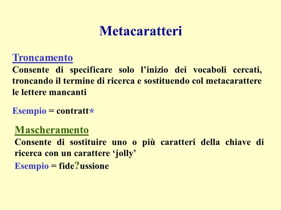 Metacaratteri Troncamento Consente di specificare solo linizio dei vocaboli cercati, troncando il termine di ricerca e sostituendo col metacarattere l