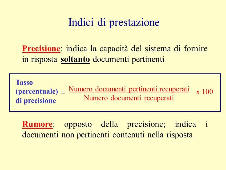Precisione: indica la capacità del sistema di fornire in risposta soltanto documenti pertinenti Indici di prestazione Rumore: opposto della precisione