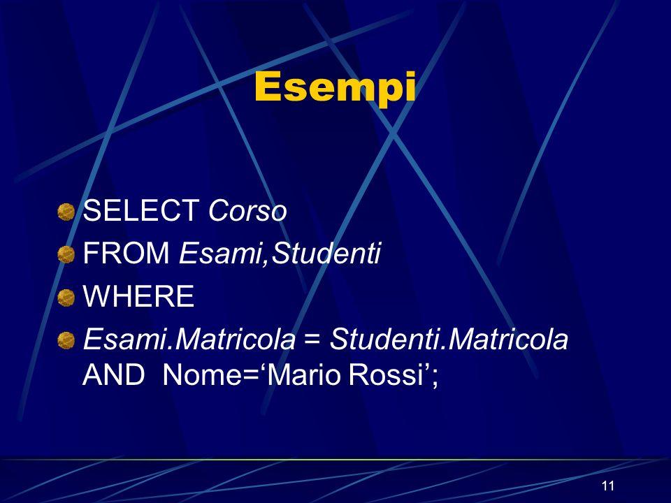 11 Esempi SELECT Corso FROM Esami,Studenti WHERE Esami.Matricola = Studenti.Matricola AND Nome=Mario Rossi;