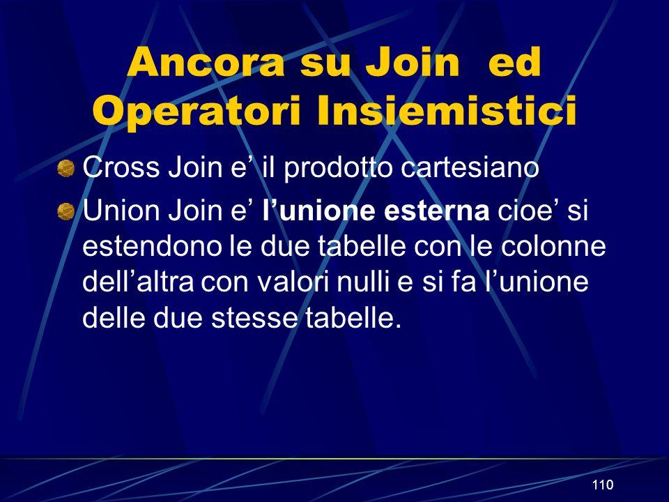 110 Ancora su Join ed Operatori Insiemistici Cross Join e il prodotto cartesiano Union Join e lunione esterna cioe si estendono le due tabelle con le colonne dellaltra con valori nulli e si fa lunione delle due stesse tabelle.