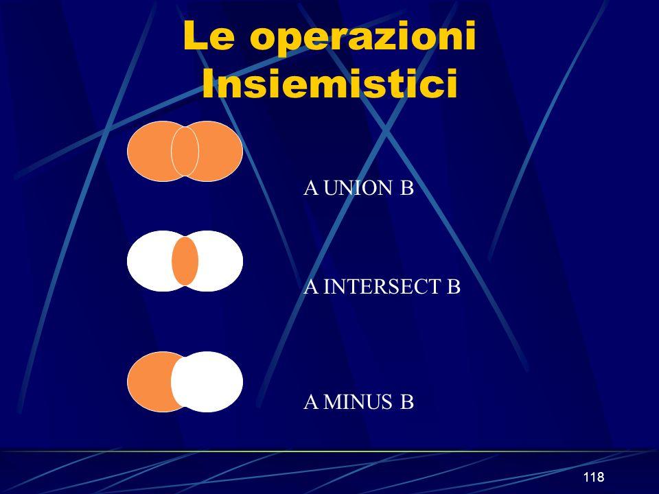 118 Le operazioni Insiemistici A UNION B A INTERSECT B A MINUS B