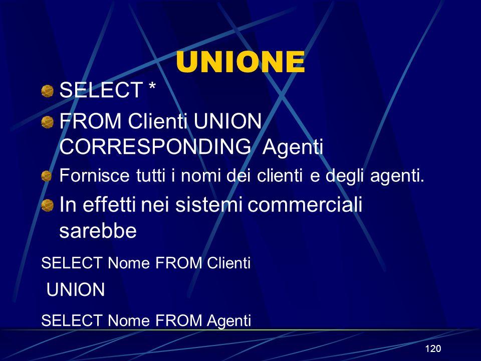 120 UNIONE SELECT * FROM Clienti UNION CORRESPONDING Agenti Fornisce tutti i nomi dei clienti e degli agenti. In effetti nei sistemi commerciali sareb