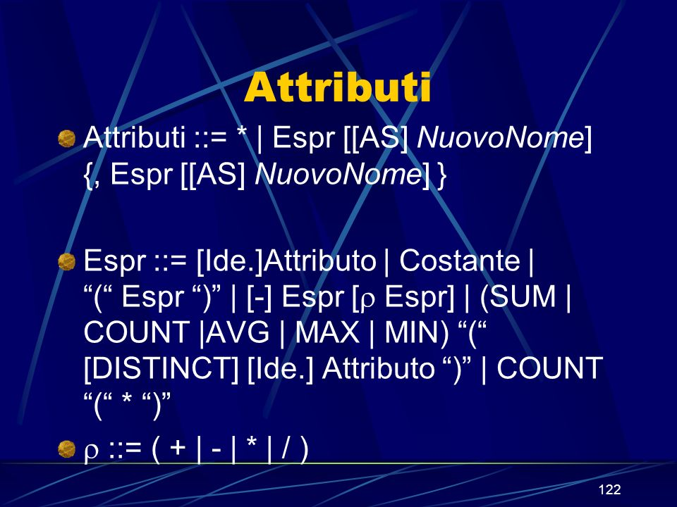 122 Attributi Attributi ::= * | Espr [[AS] NuovoNome] {, Espr [[AS] NuovoNome] } Espr ::= [Ide.]Attributo | Costante | ( Espr ) | [-] Espr [ Espr] | (SUM | COUNT |AVG | MAX | MIN) ( [DISTINCT] [Ide.] Attributo ) | COUNT ( * ) ::= ( + | - | * | / )