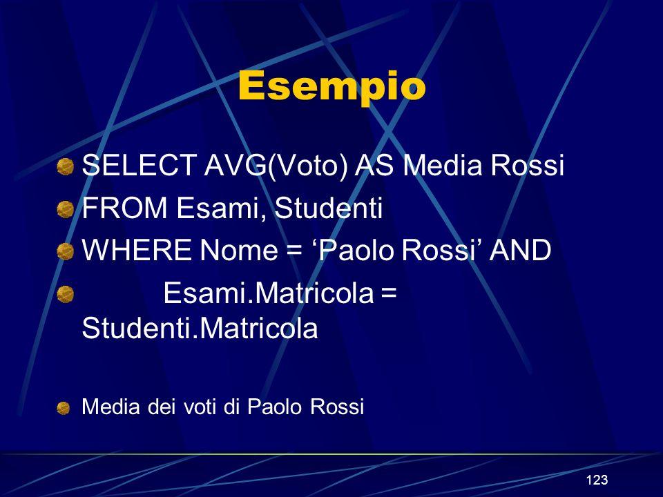 123 Esempio SELECT AVG(Voto) AS Media Rossi FROM Esami, Studenti WHERE Nome = Paolo Rossi AND Esami.Matricola = Studenti.Matricola Media dei voti di Paolo Rossi