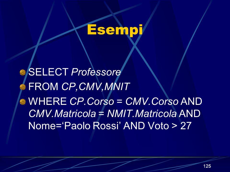 125 Esempi SELECT Professore FROM CP,CMV,MNIT WHERE CP.Corso = CMV.Corso AND CMV.Matricola = NMIT.Matricola AND Nome=Paolo Rossi AND Voto > 27