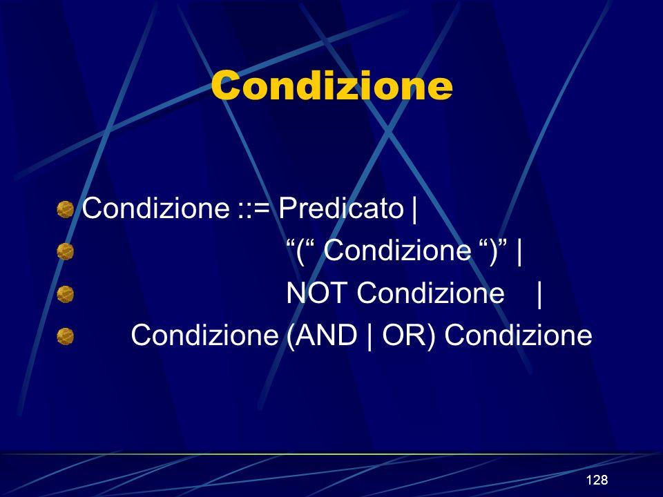 128 Condizione Condizione ::= Predicato | ( Condizione ) | NOT Condizione | Condizione (AND | OR) Condizione