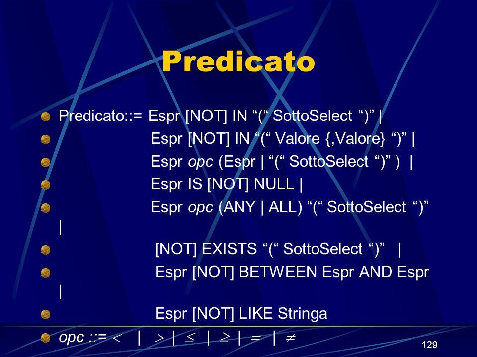 129 Predicato Predicato::= Espr [NOT] IN ( SottoSelect ) | Espr [NOT] IN ( Valore {,Valore} ) | Espr opc (Espr | ( SottoSelect ) ) | Espr IS [NOT] NULL | Espr opc (ANY | ALL) ( SottoSelect ) | [NOT] EXISTS ( SottoSelect ) | Espr [NOT] BETWEEN Espr AND Espr | Espr [NOT] LIKE Stringa opc ::= | | | | |