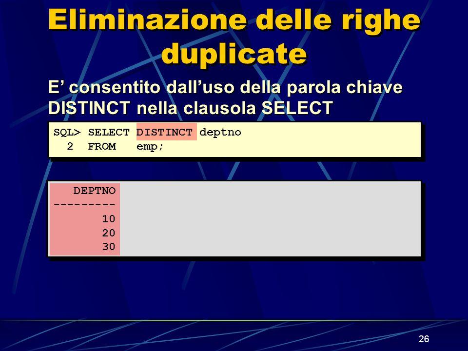 26 Eliminazione delle righe duplicate E consentito dalluso della parola chiave DISTINCT nella clausola SELECT SQL> SELECT DISTINCT deptno 2 FROM emp; DEPTNO --------- 10 20 30