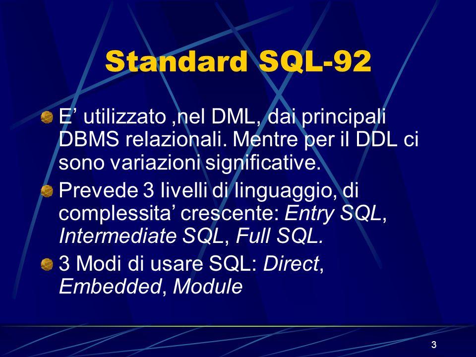 3 Standard SQL-92 E utilizzato,nel DML, dai principali DBMS relazionali. Mentre per il DDL ci sono variazioni significative. Prevede 3 livelli di ling