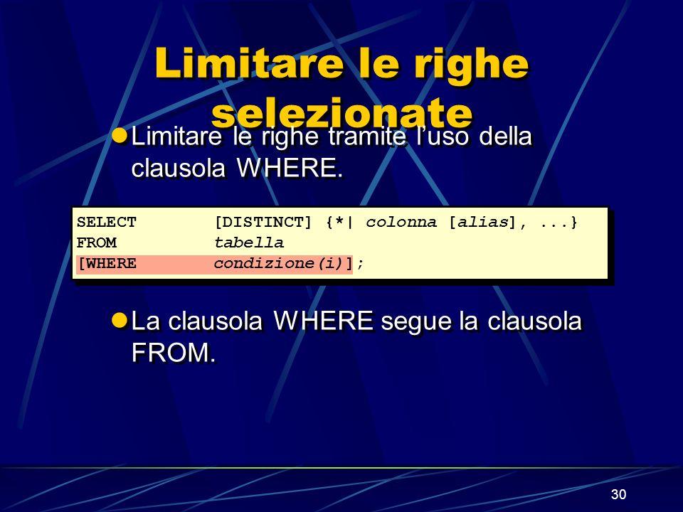 30 Limitare le righe selezionate Limitare le righe tramite luso della clausola WHERE. La clausola WHERE segue la clausola FROM. Limitare le righe tram