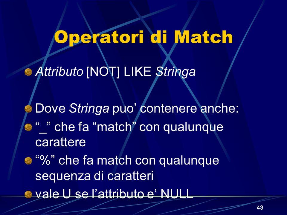 43 Operatori di Match Attributo [NOT] LIKE Stringa Dove Stringa puo contenere anche: _ che fa match con qualunque carattere % che fa match con qualunq
