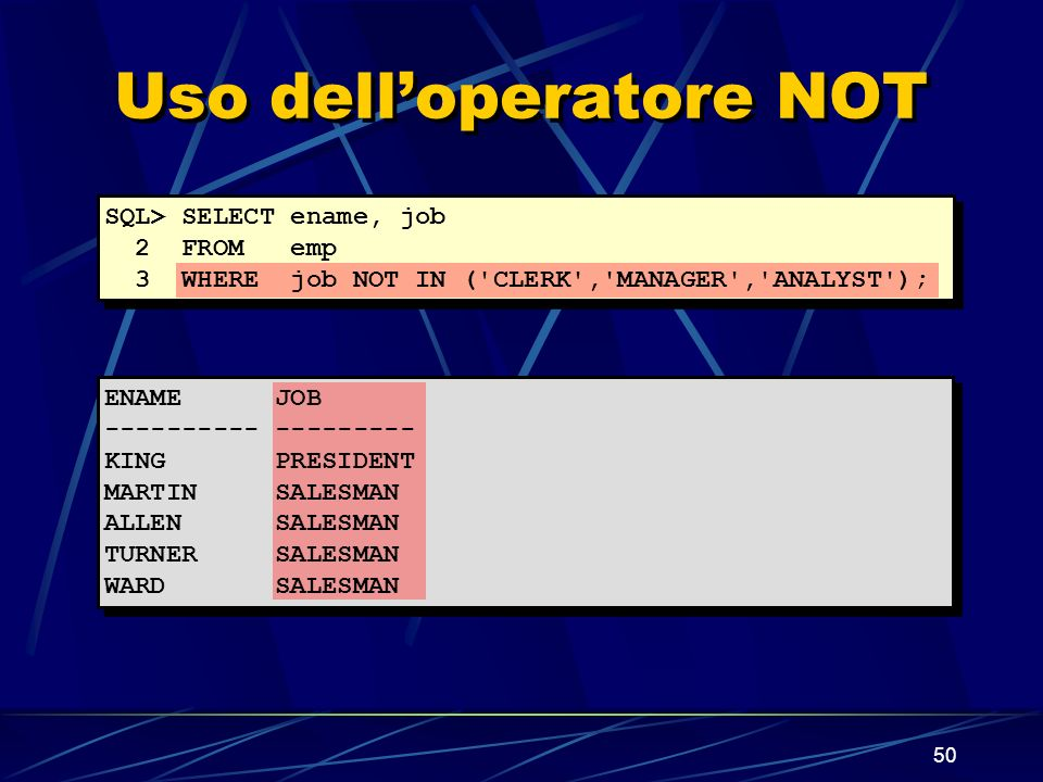 50 Uso delloperatore NOT SQL> SELECT ename, job 2 FROM emp 3 WHERE job NOT IN ( CLERK , MANAGER , ANALYST ); ENAME JOB ---------- --------- KING PRESIDENT MARTIN SALESMAN ALLEN SALESMAN TURNER SALESMAN WARD SALESMAN