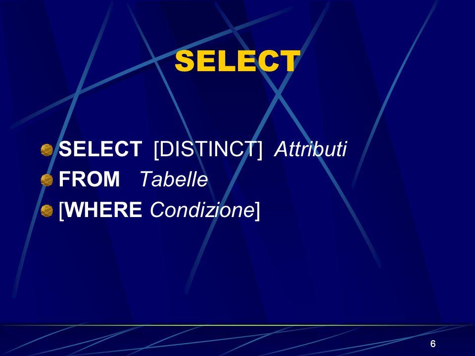 7 Attributi e Tabelle Attributi ::= * | Attributo {, Attributo} Tabelle ::= Tabella {, Tabella} Dove Tabella sta per una determinata relazione ed Attributo e uno degli attributi delle tabelle citate nel FROM