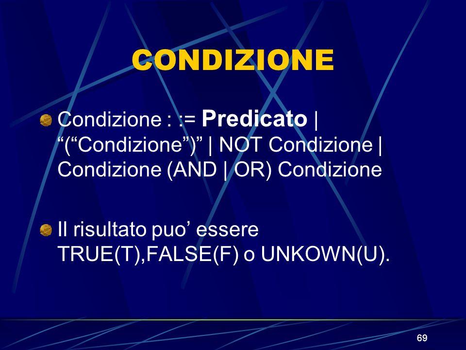 69 CONDIZIONE Condizione : := Predicato | (Condizione) | NOT Condizione | Condizione (AND | OR) Condizione Il risultato puo essere TRUE(T),FALSE(F) o