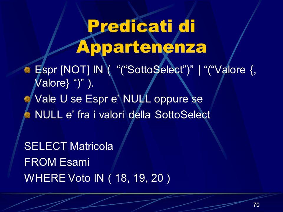 70 Predicati di Appartenenza Espr [NOT] IN ( (SottoSelect) | (Valore {, Valore} ) ). Vale U se Espr e NULL oppure se NULL e fra i valori della SottoSe