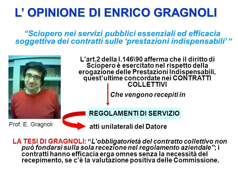 Sciopero nei servizi pubblici essenziali ed efficacia soggettiva dei contratti sulle prestazioni indispensabili L OPINIONE DI ENRICO GRAGNOLI Prof. E.