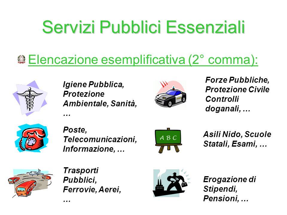 Servizi Pubblici Essenziali Elencazione esemplificativa (2° comma): Igiene Pubblica, Protezione Ambientale, Sanità, … Forze Pubbliche, Protezione Civi