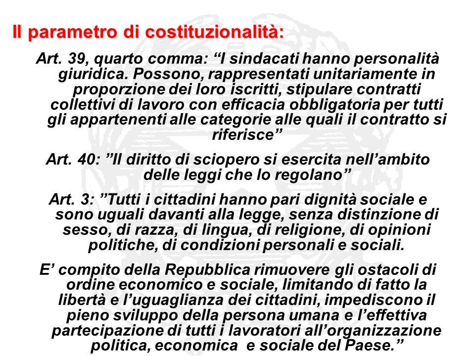 Il parametro di costituzionalità: Art. 39, quarto comma: I sindacati hanno personalità giuridica. Possono, rappresentati unitariamente in proporzione