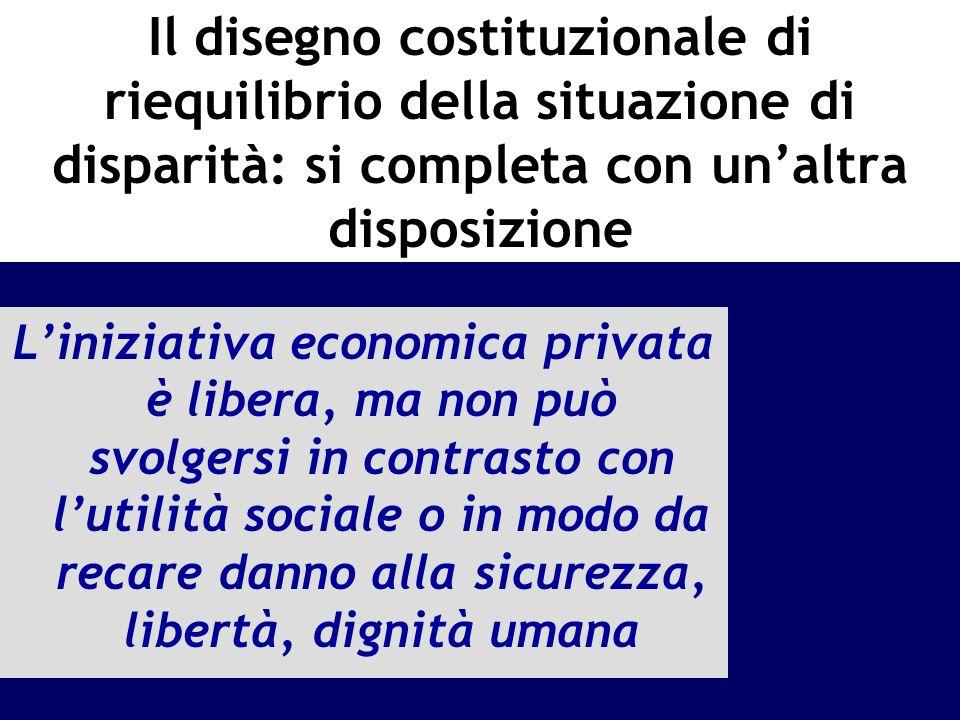 Il disegno costituzionale di riequilibrio della situazione di disparità: si completa con unaltra disposizione Liniziativa economica privata è libera,
