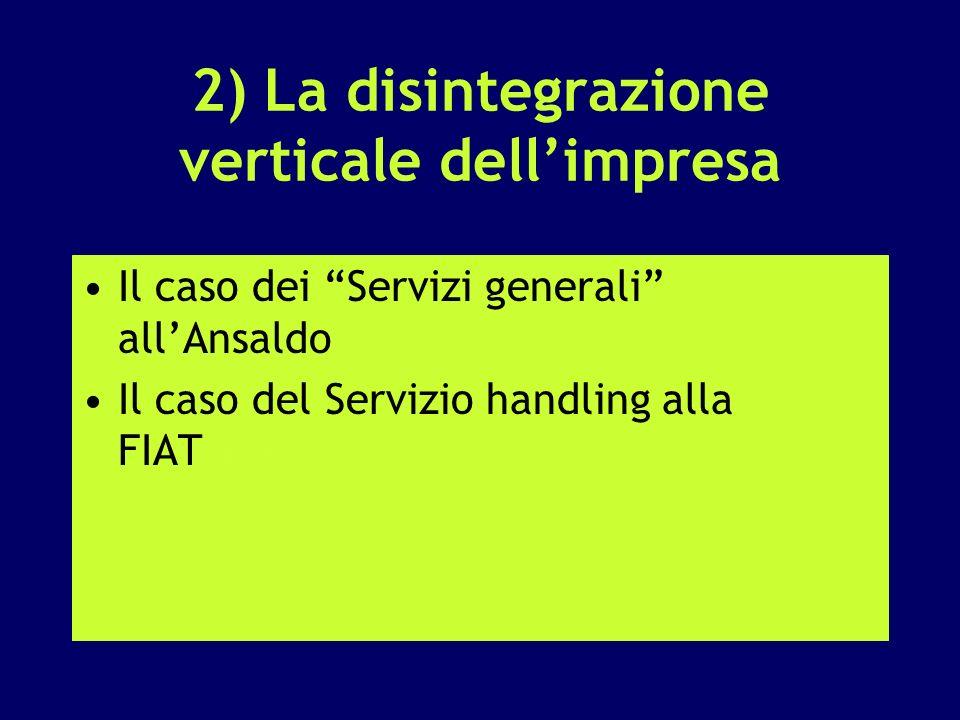 2) La disintegrazione verticale dellimpresa Il caso dei Servizi generali allAnsaldo Il caso del Servizio handling alla FIATFiat