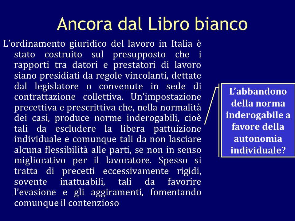 Ancora dal Libro bianco Lordinamento giuridico del lavoro in Italia è stato costruito sul presupposto che i rapporti tra datori e prestatori di lavoro