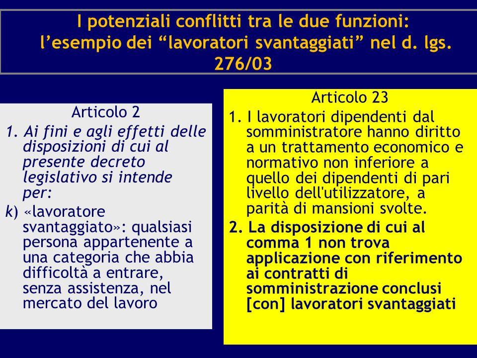 I potenziali conflitti tra le due funzioni: lesempio dei lavoratori svantaggiati nel d. lgs. 276/03 Articolo 2 1. Ai fini e agli effetti delle disposi