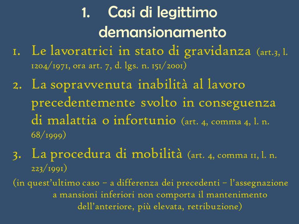 1.Casi di legittimo demansionamento 1.Le lavoratrici in stato di gravidanza (art.3, l.