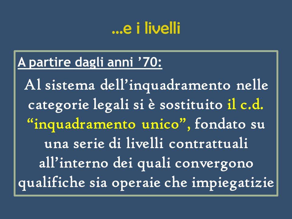 …e i livelli A partire dagli anni 70: Al sistema dellinquadramento nelle categorie legali si è sostituito il c.d. inquadramento unico, fondato su una