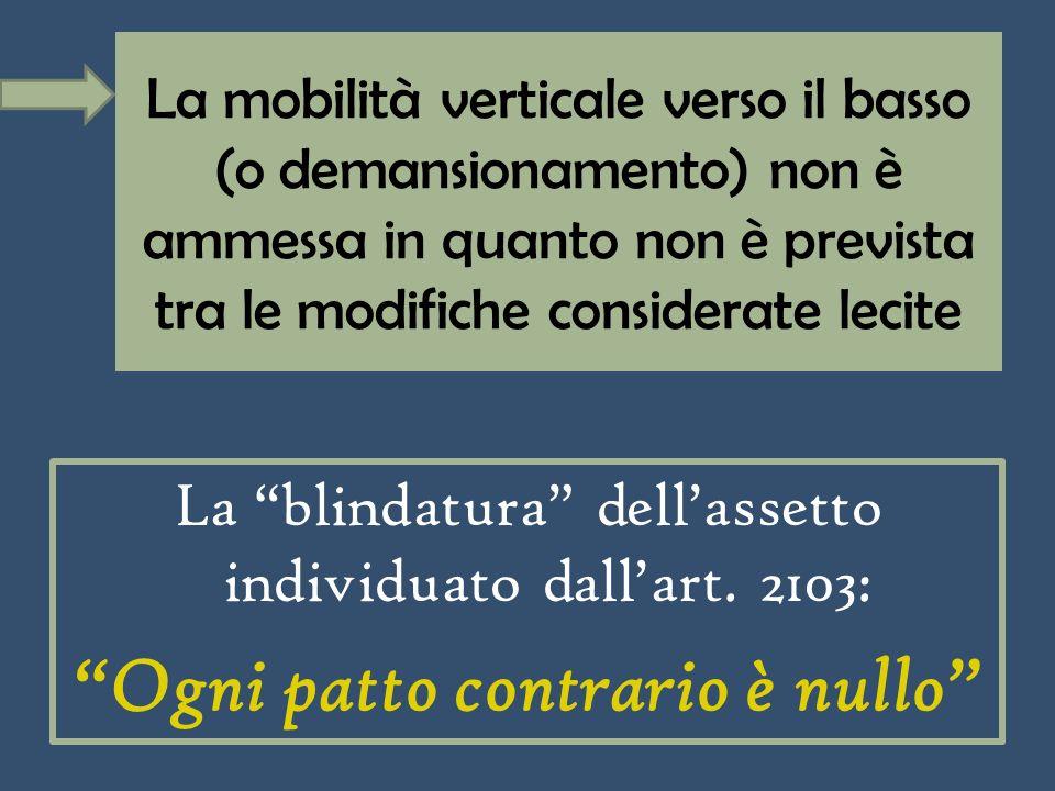 La mobilità verticale verso il basso (o demansionamento) non è ammessa in quanto non è prevista tra le modifiche considerate lecite La blindatura dellassetto individuato dallart.
