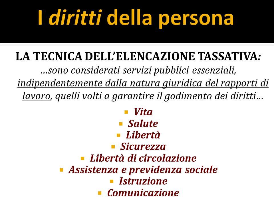 LA TECNICA DELLELENCAZIONE TASSATIVA: …sono considerati servizi pubblici essenziali, indipendentemente dalla natura giuridica del rapporti di lavoro,