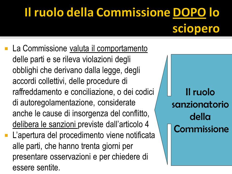 La Commissione valuta il comportamento delle parti e se rileva violazioni degli obblighi che derivano dalla legge, degli accordi collettivi, delle pro