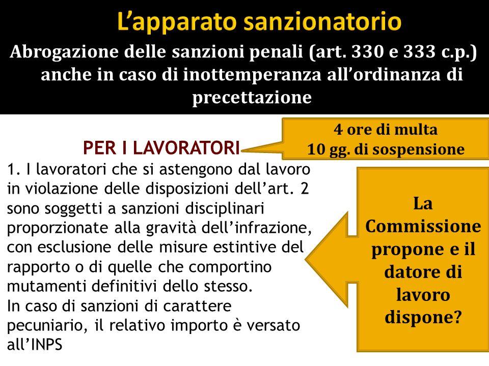 Abrogazione delle sanzioni penali (art. 330 e 333 c.p.) anche in caso di inottemperanza allordinanza di precettazione PER I LAVORATORI 1. I lavoratori