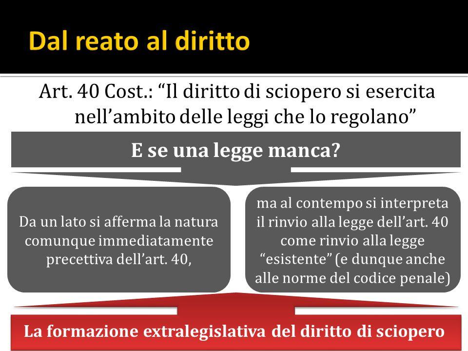 Art. 40 Cost.: Il diritto di sciopero si esercita nellambito delle leggi che lo regolano E se una legge manca? Da un lato si afferma la natura comunqu