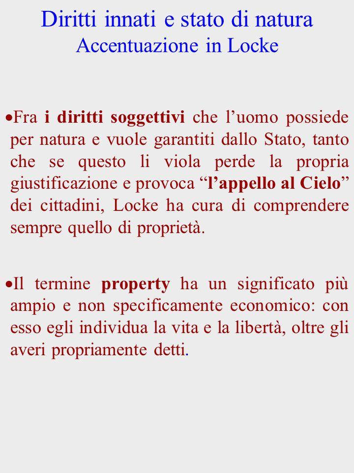 Diritti innati e stato di natura Accentuazione in Locke Fra i diritti soggettivi che luomo possiede per natura e vuole garantiti dallo Stato, tanto ch